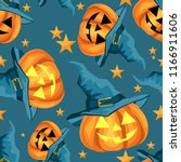 halloween seamless pattern with ... | Shutterstock .eps vector #1166911606