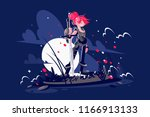 woman warrior with sword and... | Shutterstock .eps vector #1166913133