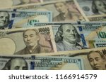 background with us currency and ... | Shutterstock . vector #1166914579