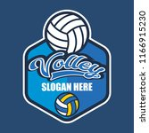 volley ball logo with text... | Shutterstock .eps vector #1166915230