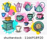 colorful set of different cups  ... | Shutterstock .eps vector #1166918920