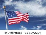 usa. windblown flag of the... | Shutterstock . vector #116692204