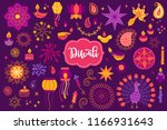 diwali design elements set with ... | Shutterstock .eps vector #1166931643