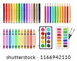 colorful pen  marker and... | Shutterstock .eps vector #1166942110