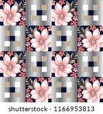 patchwork flower pattern | Shutterstock .eps vector #1166953813