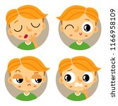 cute set of four young redhead... | Shutterstock .eps vector #1166958109