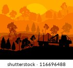 Forest cut down landscape with wood and heavy equipment track - stock vector