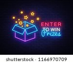 enter to win prizes neon sign... | Shutterstock .eps vector #1166970709