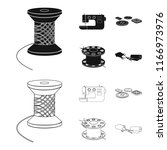 thread reel  sewing machine ... | Shutterstock .eps vector #1166973976
