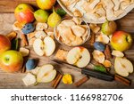 dried fruit on the wooden... | Shutterstock . vector #1166982706