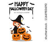 illustration happy halloween... | Shutterstock .eps vector #1166983690