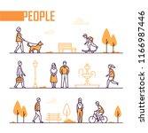 city life   set of line design... | Shutterstock .eps vector #1166987446