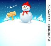 Illustration Of Snowman On...