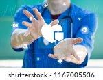 doctor pushing button heart... | Shutterstock . vector #1167005536