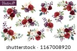 Stock vector set of floral branch flower red burgundy purple rose green leaves wedding concept with flowers 1167008920