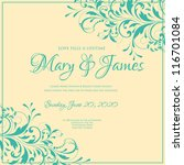 wedding card or invitation with ... | Shutterstock .eps vector #116701084