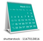 march 2019 3d desktop calendar... | Shutterstock .eps vector #1167013816