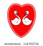 Swans couple in love on red heart background - stock photo