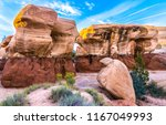 sandstone red rock canyon scene.... | Shutterstock . vector #1167049993