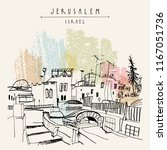 roofs of jerusalem above arabic ... | Shutterstock .eps vector #1167051736
