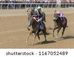 Small photo of Saratoga Springs, NY, USA - August 25, 2018: Whitmore ridden by Ricardo Santana, Jr. in the stretch run of the Forego Stakes on Travers day August 25, 2018 Saratoga Springs, NY, USA