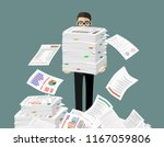 busy businessman with pile of... | Shutterstock .eps vector #1167059806