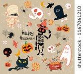 happy halloween clip art...   Shutterstock .eps vector #1167061210