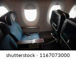 empty aircraft premium economy... | Shutterstock . vector #1167073000