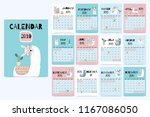 cute monthly calendar 2019 with ... | Shutterstock .eps vector #1167086050