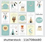 chic monthly calendar 2019 with ... | Shutterstock .eps vector #1167086680