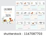 chic monthly calendar 2019 with ... | Shutterstock .eps vector #1167087703