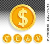 set of gold coins currencies... | Shutterstock .eps vector #1167094756