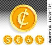 set of gold coins currencies... | Shutterstock .eps vector #1167094759