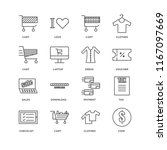 set of 16 simple line icons... | Shutterstock .eps vector #1167097669