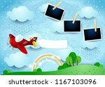 surreal landscape with airplane ... | Shutterstock .eps vector #1167103096