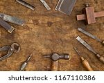 old woodwork tools on grungy...   Shutterstock . vector #1167110386