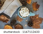 blue mug with coffee  hot... | Shutterstock . vector #1167112633
