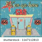 vintage gas station sign ... | Shutterstock .eps vector #1167112813