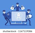 electronic theft danger. masked ... | Shutterstock .eps vector #1167119386