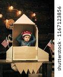 boy play with rocket  cosmonaut ...   Shutterstock . vector #1167123856