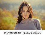 girl with long brunette hair... | Shutterstock . vector #1167125170