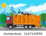 truck transportation garbage.... | Shutterstock .eps vector #1167142990