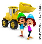 3d Young Construction Workers...