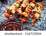grilled meats outdoors | Shutterstock . vector #116715034