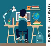 student sitting at the desk ...   Shutterstock . vector #1167152563