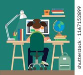 student sitting at the desk ...   Shutterstock . vector #1167152899