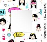 girl banner with anime emoji...   Shutterstock .eps vector #1167160123