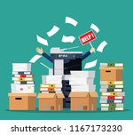stressed cartoon businessman in ... | Shutterstock .eps vector #1167173230