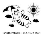 cartoon comic cat with an... | Shutterstock .eps vector #1167175450