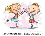 boy and girl jumping with joy... | Shutterstock .eps vector #1167201319